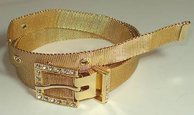 (LADY SOFT METAL GOLD MESH BELT CRYSTAL BUCKLE L 36 NEW)