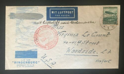 1936 HINDENBURG FLIGHT COVER - GERMANY to NEW YORK to GERMANY - ZEPPELIN STAMP