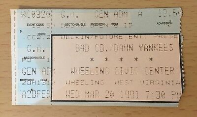 1991 BAD COMPANY DAMN YANKEES WHEELING WEST VA. CONCERT TICKET STUB TED NUGENT