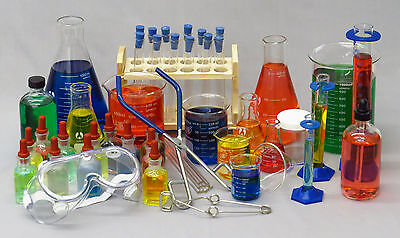 69 Piece General Glassware Starter Kit - Test Tube Beaker Flask Plus Free Gift