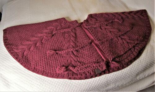 """UGG  Burgundy Christmas Cable Knit Tree Skirt - 54""""  - NIB"""