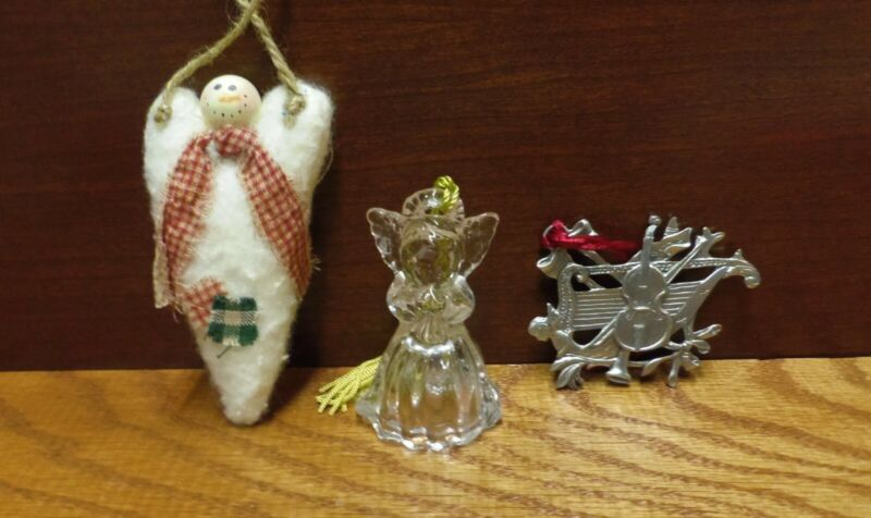 WATERFORD ANGEL, PEWTER ANGEL AND FELT HEART ANGEL ORNAMENTS