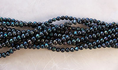 "16"" Strand Luster Dark Peacock Indigo Blue Freshwater Pearl Off Round Beads 6mm"