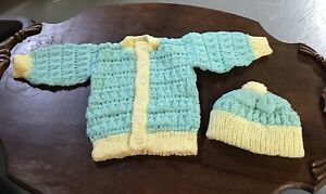 Hand Knitted New Born Sweater and Hat