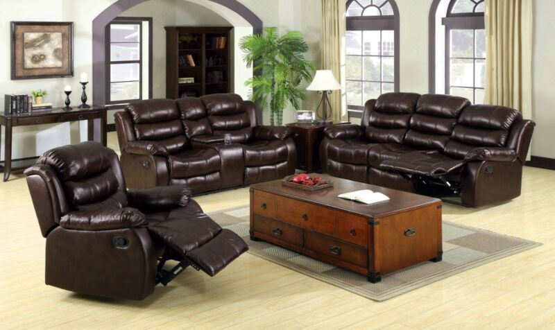 Bonded Leather 2pc Sofa Loveseat Plush Cushions W/ Console Leather Fabric