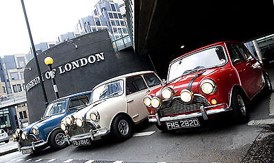 3 original 1960's Mini Coopers used by Paramount Pictures to promote The Italian Job. Ian West/PA Wire