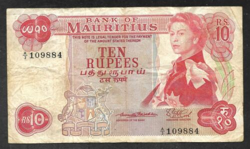 Mauritius - Old 10 Rupees Note - 1967 - P31a - FINE