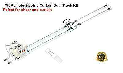 7' Remote Electric Motorized Window Curtain Dual Track for Sheers and Draperies