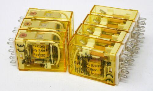 Lot of 7 IDEC RY2S-U 24V DC Coil Pilot Cube Relay DPDT 3A RY2SU