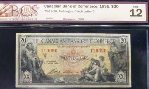 CANADIAN BANK OF COMMERCE 1935 $20 - NEPTUNE & PRIESTESSES CHARTERED BANKNOTE