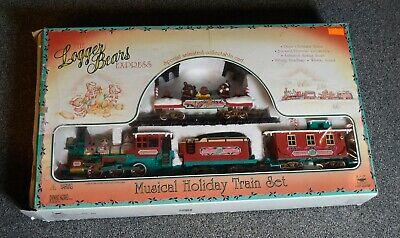 1996 New Bright The Logger Bears Express Musical Holiday Train Set EUC No. 181