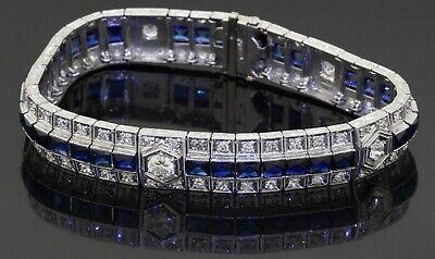 Heavy antique Platinum 14.65CT VS diamond & sapphire 10.5mm wide bracelet