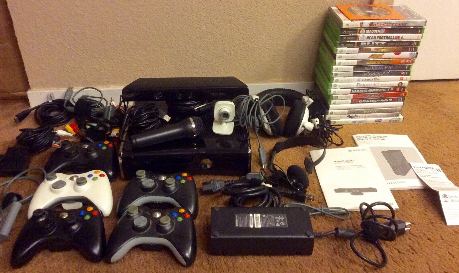 Xbox 360 - Microsoft Xbox 360 Slim 250gb Console w/ Kinect +19 Games HUGE Bundle Lot System