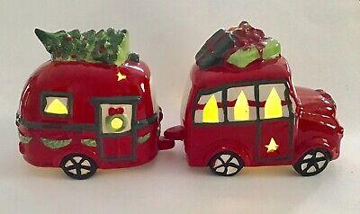 Pier 1 Light Up LED Ceramic Christmas Car Camper Set NIB