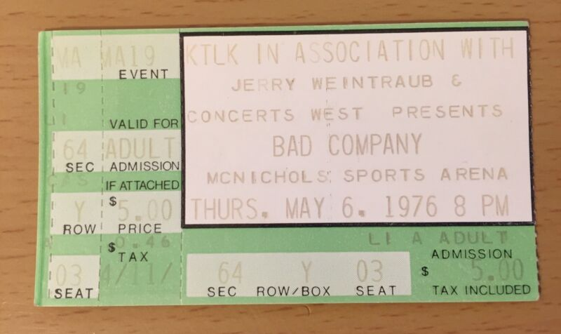 1976 BAD COMPANY DENVER CONCERT TICKET STUB RUN WITH THE PACK PAUL RODGERS 03