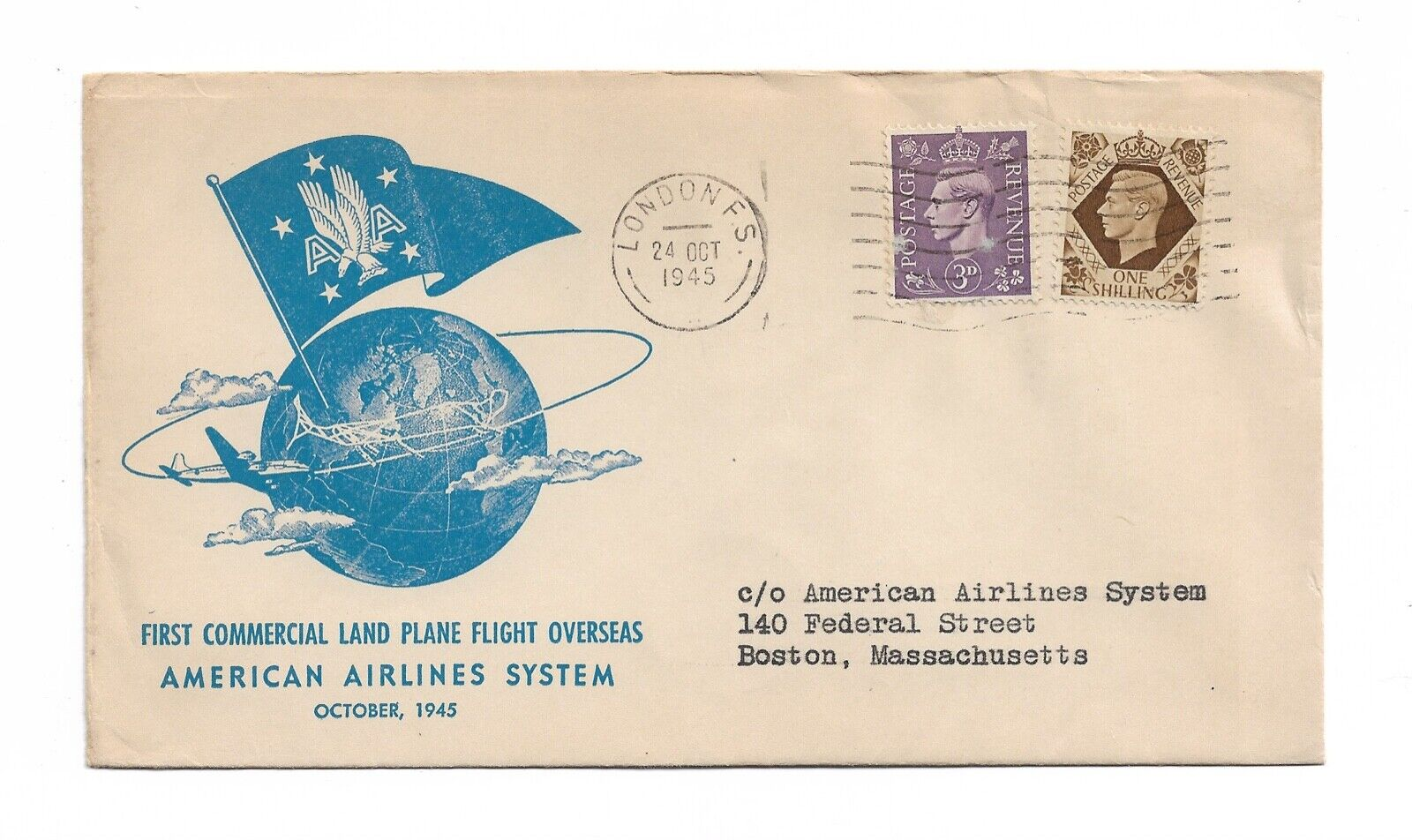 1945 First Flight Cover FAM 24-7a Flown From London England To Boston Massachuse - $1.45