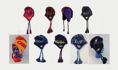 NEW NFL Mohawk Knit Cap Hat Laplander Tassel  Youth Beanie