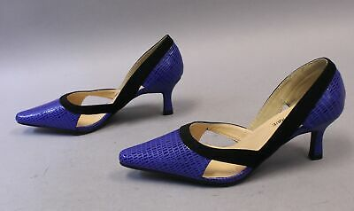 EY Boutique Womens Two-Tone D'Orsay Pointed Toe Pump MW7 Blue Size US:9.5 (Pointed Tone)