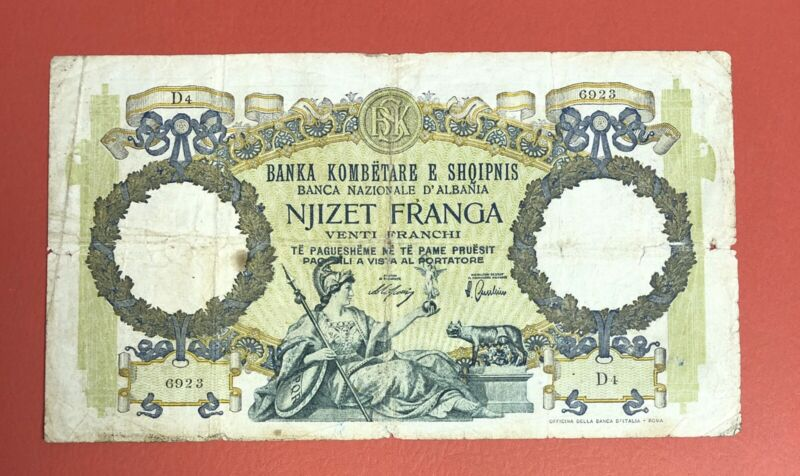 Albania 20 Franga  1939 Pick# 7 G-VG.(#2233)