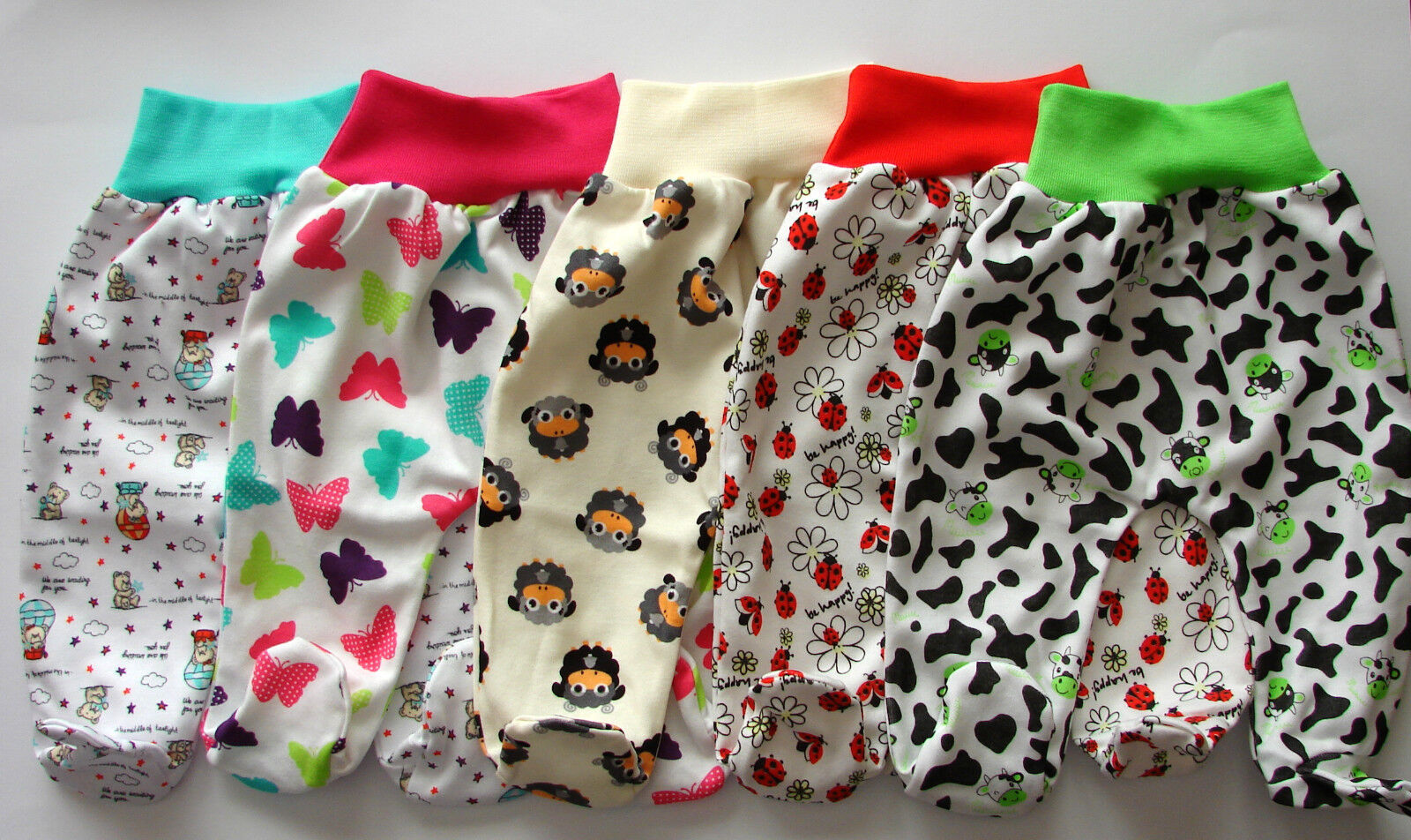 Süße Babyhose mit Fuß Strampelhose Schlupfhose 62 68 74 80 100% Baumwolle Neu