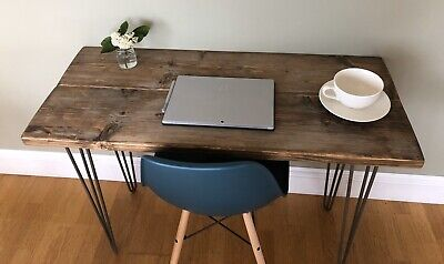 Wooden Desk upcycled scaffolding boards rustic vintage retro Steel Hairpin Legs