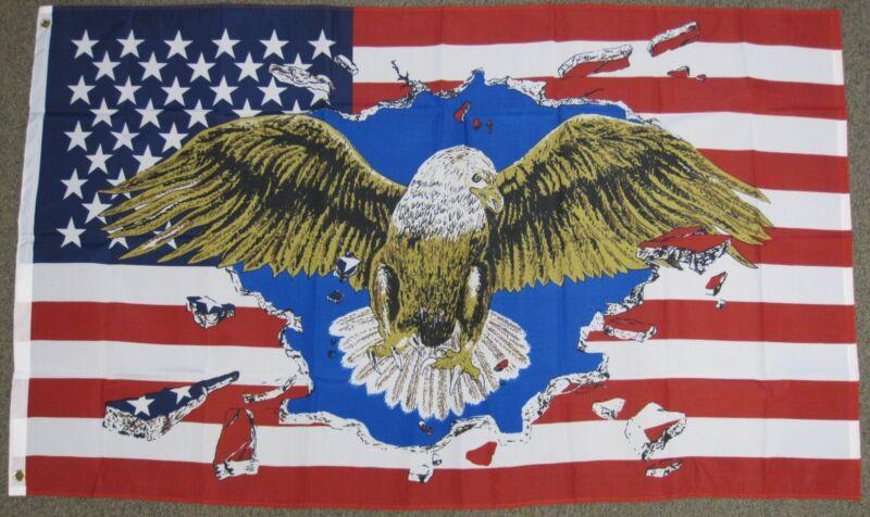 USA EAGLE FLAG 3X5 FEET UNITED STATES OF AMERICA 3