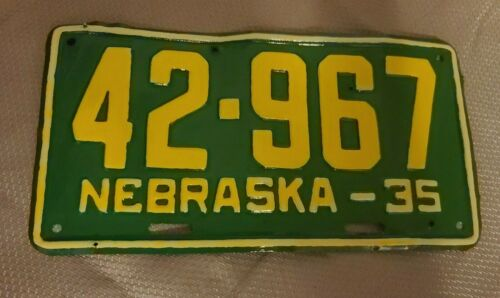 Custom Painted 1935 Nebraska License Plate