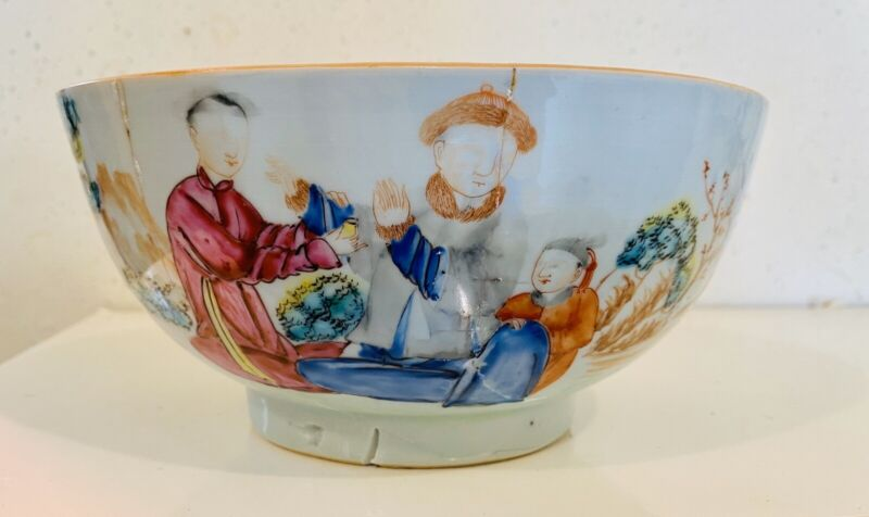 Chinese Export Antique Chinese Rose Mandarin Punch Bowl Qianlong Period 8 Inch