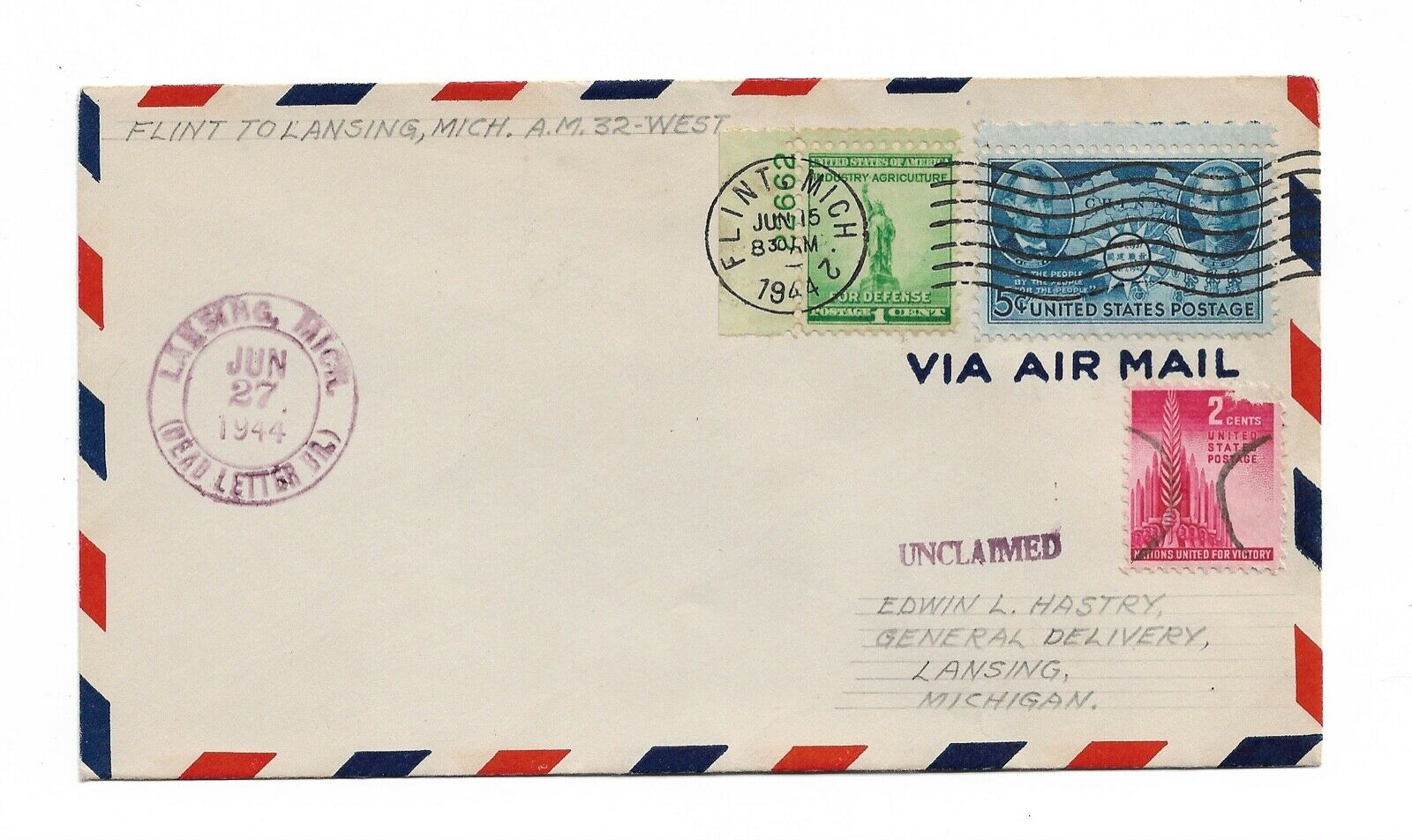 1944 Unlisted First Flight Cover Flown From Flint Michigan - $1.40