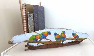 Hand-painted Driftwood,Rainbow Lorikeets,great animal lover gift Palm Beach Gold Coast South Preview