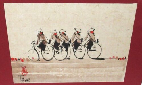CHINESE PEOPLE ON BIKES ORIGINAL WATERCOLOR PAINTING SIGNED