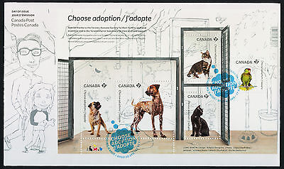 Canada 2636 on FDC Pets, Animals, Choose Adoption, Dog, Cat, Bird
