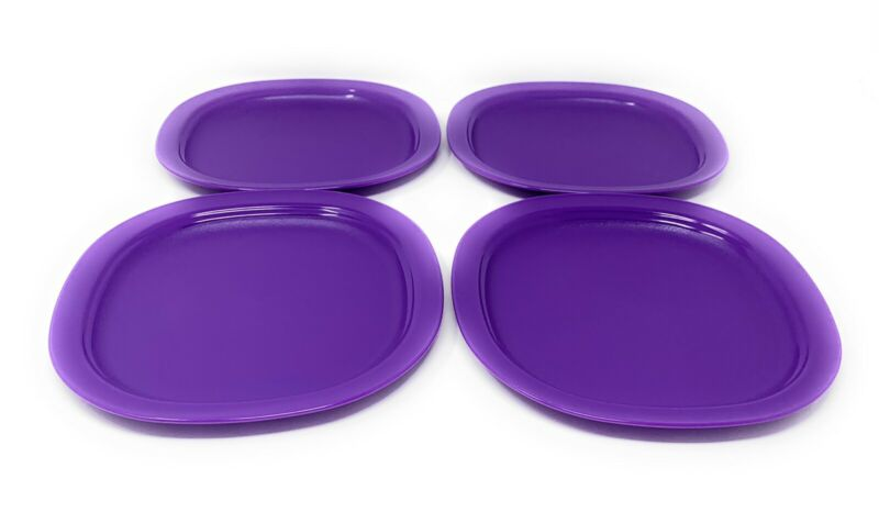 Tupperware Purple Microwave Luncheon Plates Set of 4 (7.5 Inches)