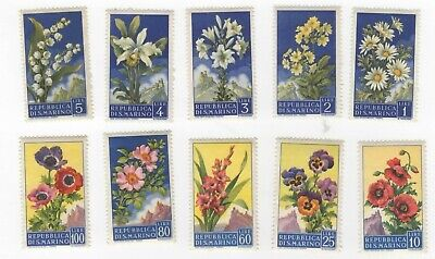 San Marino 394-403 M/NH Set Flowers