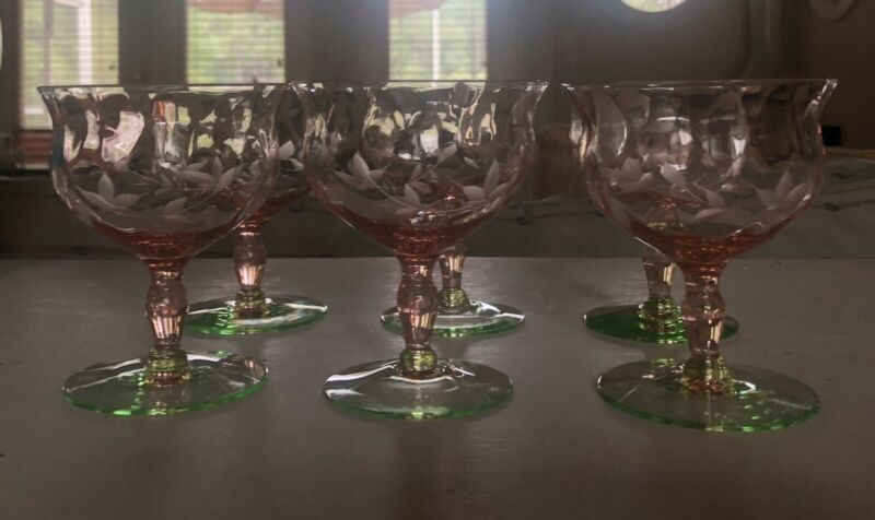 Watermelon Depression Glass Wine Sherry Liqueur Pink And Green Etched 6