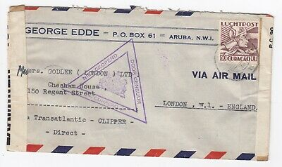 WW2 Aruba Curacao Double Censored Transatlantic Clipper Mail to London 1942