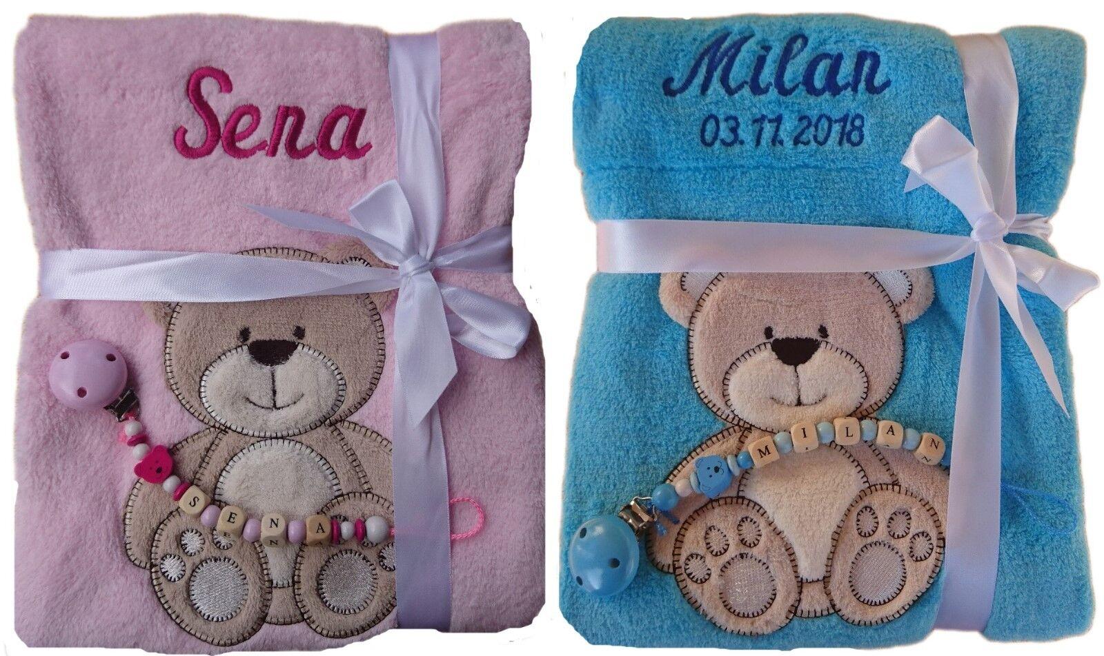 Babydecke mit Namen bestickt + Schnullerkette Geschenk Baby Taufe Geburt rosa
