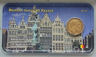 1868 BELGIUM Gold 20 Francs in Littleton Coin Co. Showpak-FN-FREE USA SHIP-KM 32