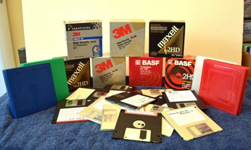 """LOT OF 100 3.5"""" FLOPPY DISKS USED MAXELL 3M BASF IMATION CASE FREE SHIPPING"""