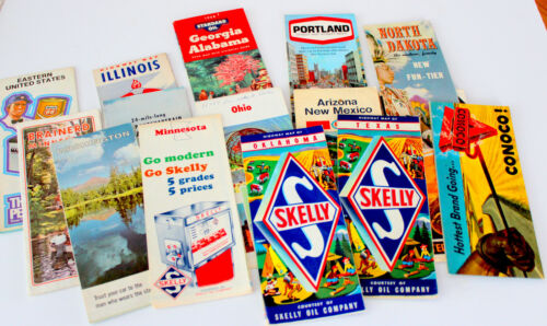 COLLECTION of 14 VINTAGE MAPS -   Take a LOOK!