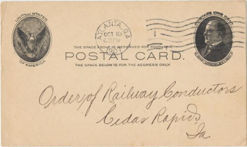 1907 Antique Postal Card Order of Railway Conductors Cedar Rapids, IA Postcard