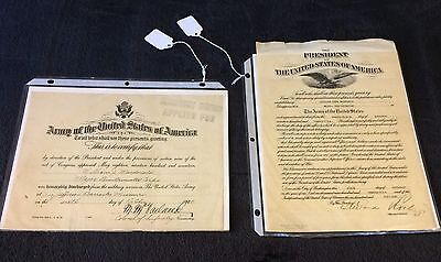 (2) WW1 US ARMY - Major QuarterMaster - Signed Documents - 1920's
