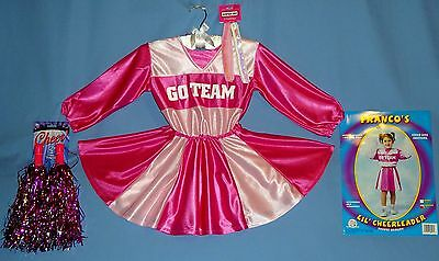 CHEERLEADER Costume Girls 2-4-pink-white head wraps-POM POMS-GO TEAM-NEW LOT-5