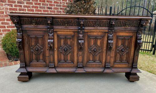 Antique English Sideboard Server Cabinet Buffet Jacobean Oak Lions Large 19th C