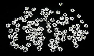 100 Flower Spacer Beads Silver Plated Bead Caps 4mm  **Small** Findings J09688A