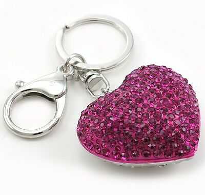 Valentine's Day Gift Hot Pink Heart Love Keychain Key Ring Charm Car Accessory