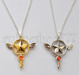Card-Captor-Sakura-Kinomoto-Star-Wand-Key-Necklace-Pendant-Cosplay-Free-Shipping