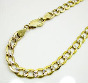 5mm 8 50 quot mens 10k yellow real gold cuban miami diamond cut bracelet
