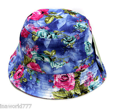 ROSE Flower Floral Bucket hat Boonie cap Fishing Hunting Outdoor - Blue (Cap Outdoor Base)