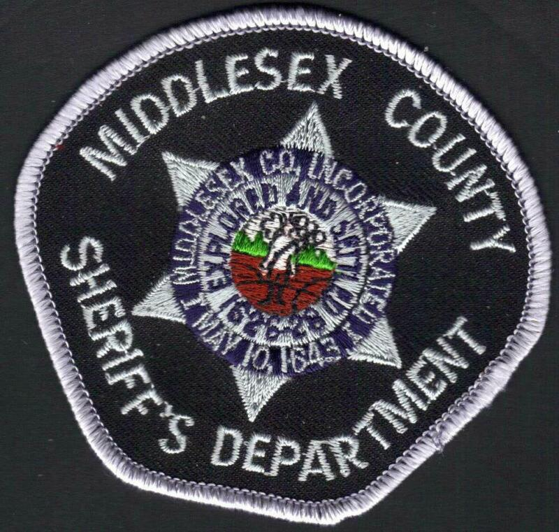"""😎😎  Middlesex County Massachusetts Sheriff Dept. Patch  CAP 3-1/4"""" x3""""  VR. 2"""